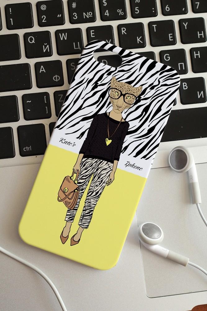 """Подарки на день рождения Красный куб Чехол для iphone 5 с вашим текстом """"Леопард"""""""