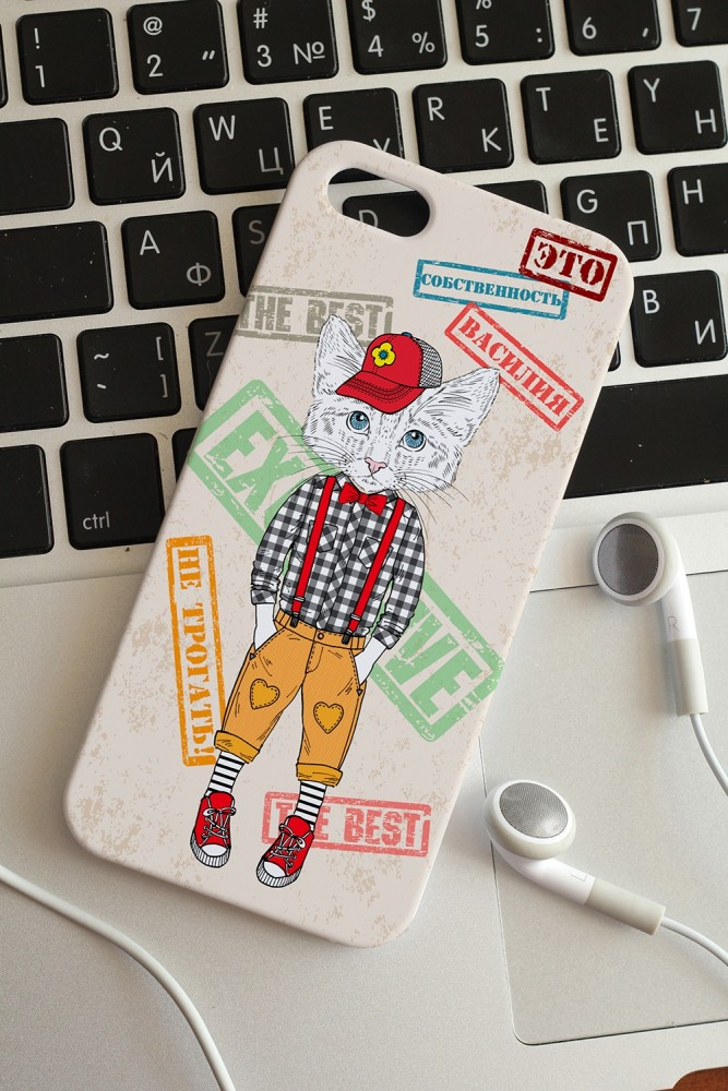 """Подарки на день рождения Красный куб Чехол для iphone 5 с вашим текстом """"Стильный котёнок"""""""