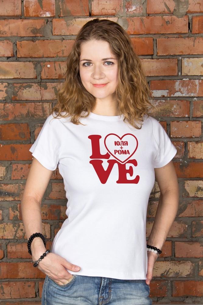 """Подарки на 14 февраля Красный куб Футболка женская с вашим текстом """"LOVE"""""""