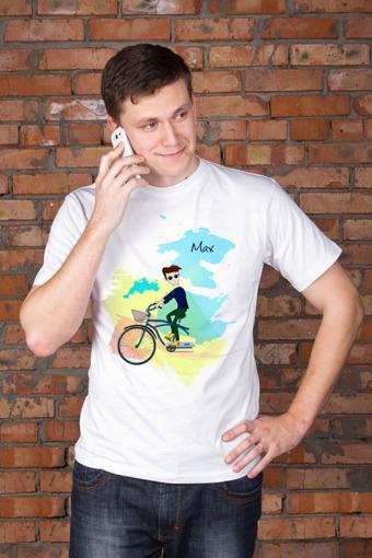 """Подарки для него Красный куб Футболка мужская с вашим текстом """"Семья на велосипеде"""""""
