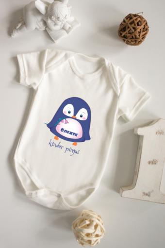 """Персональные подарки с Вашим именем Красный куб Боди для малыша с вашим текстом """"Малыш пингвин"""""""