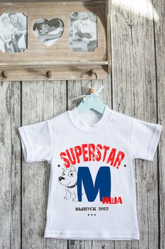 """Подарки детям Красный куб Футболка детская с вашим текстом """"SuperStar"""""""