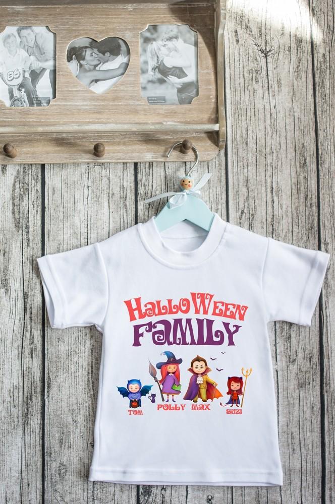 """Парные и семейные футболки на заказ Красный куб Футболка детская с вашим текстом """"Семейка Хэллоуин 2"""