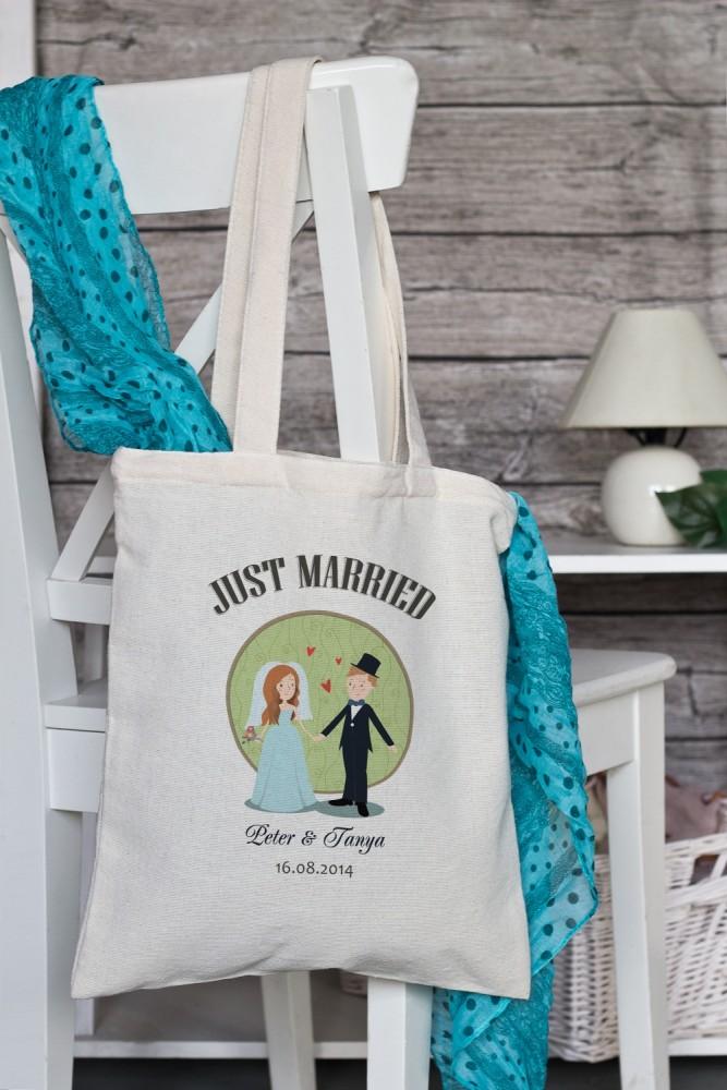 """Сумки и рюкзаки Красный куб Сумка с Вашим текстом """"Just Married"""""""