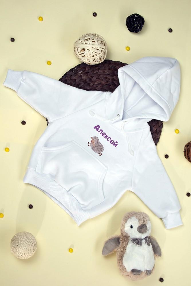 """Подарки для малышей и новорожденных Красный куб Толстовка детская с именной вышивкой и аппликацией """""""