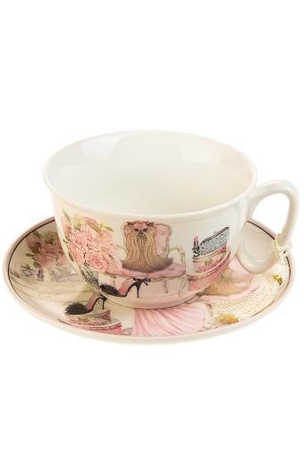 """Сувениры для женщин Красный куб Чайная пара """"Розовые мечты"""""""
