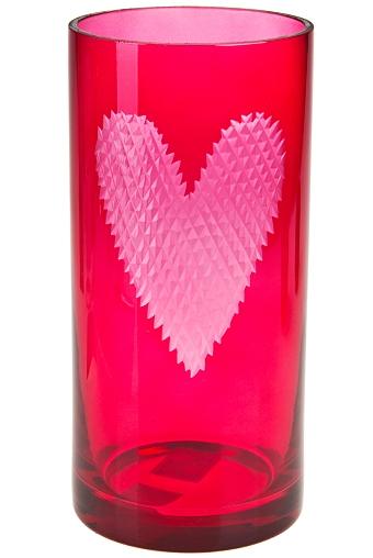 """Стеклянные вазы и кашпо Красный куб Ваза для цветов """"Ажурное сердце"""""""