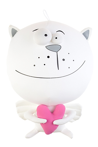 """Сувениры для мужчин Красный куб Игрушка мягкая """"Котик-ангелочек с сердечком"""""""
