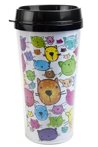 """Термокружки и стаканы для чая/кофе Красный куб Термокружка с крышкой """"Кошки"""""""