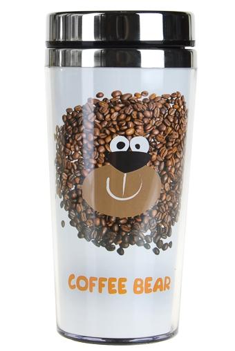 """Термокружки и стаканы для чая/кофе Красный куб Термокружка с крышкой """"Чайно-кофейный мишка"""""""