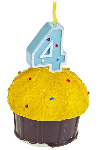 """Свечи для торта и вечеринок Красный куб Свеча """"Кекс с цифрой 4"""""""