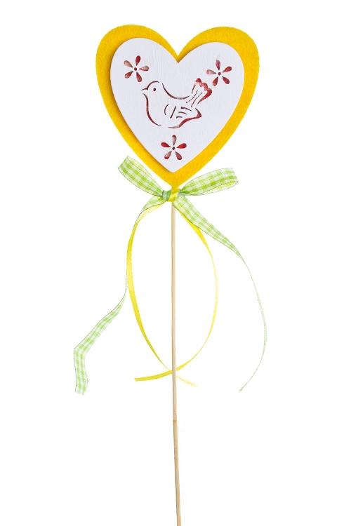 """Сувениры на палке Красный куб Украшение декоративное """"Сердце с птичкой"""""""