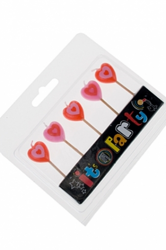 """Подарки на 14 февраля Красный куб Набор свечей для торта """"Сердца"""""""