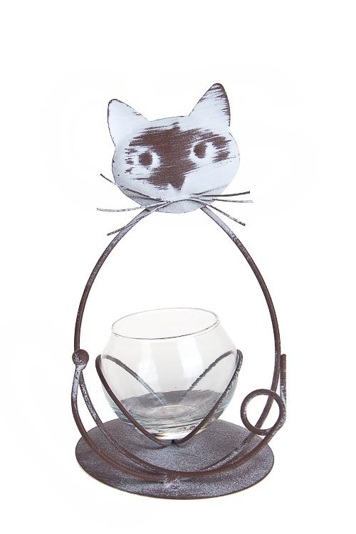 """Стеклянные вазы и кашпо Красный куб Ваза для цветов """"Кот в позе лотоса"""""""