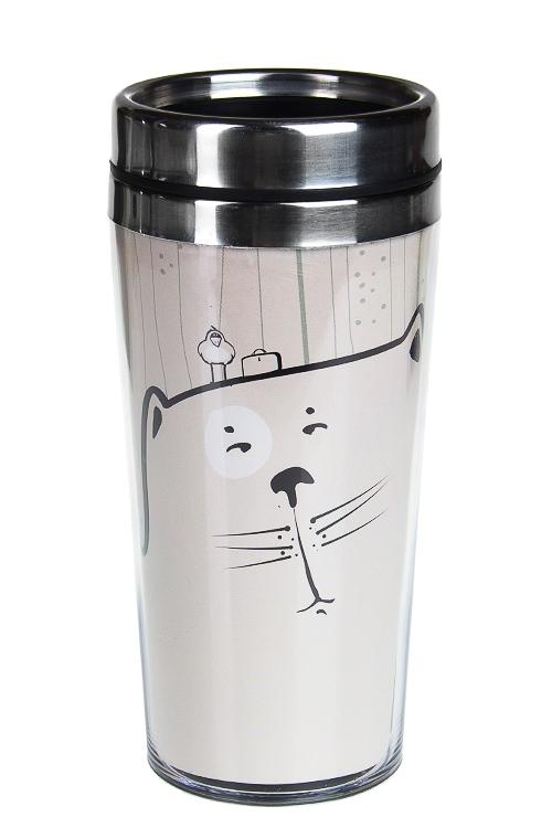 """Термокружки и стаканы для чая/кофе Красный куб Термокружка с крышкой """"Добрый кот"""""""