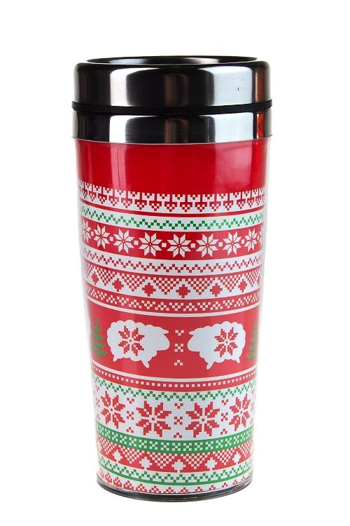 """Термокружки и стаканы для чая/кофе Красный куб Термокружка с крышкой """"Норвежская овца"""""""