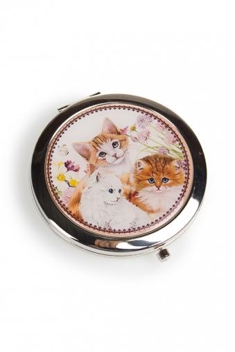 """Сувениры для женщин Красный куб Зеркало двойное """"Счастливые котята"""""""