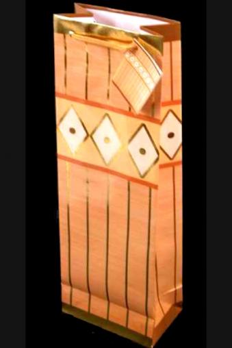 """Пакеты на любой повод Красный куб Пакет подарочный для бутылки """"Орнамент"""""""