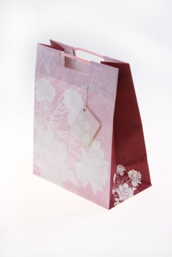 """Пакеты на любой повод Красный куб Подарочный пакет """"Цветы на розовом фоне"""""""