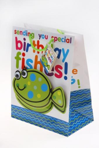 """Пакеты «С Днем рождения» Красный куб Подарочный пакет """"Глазастая рыбка"""""""