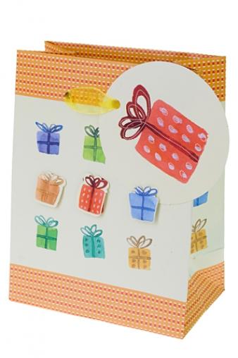 """Пакеты на любой повод Красный куб Пакет подарочный """"Разноцветные подарки"""""""