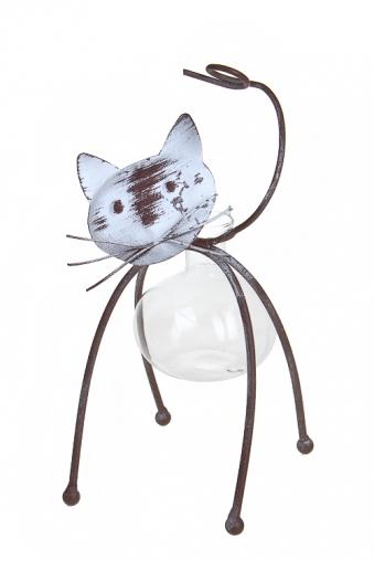 """Стеклянные вазы и кашпо Красный куб Ваза для цветов """"Загадочный котик"""""""