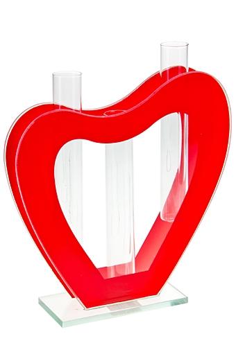 """Стеклянные вазы и кашпо Красный куб Ваза для цветов """"Пылкое сердце"""""""