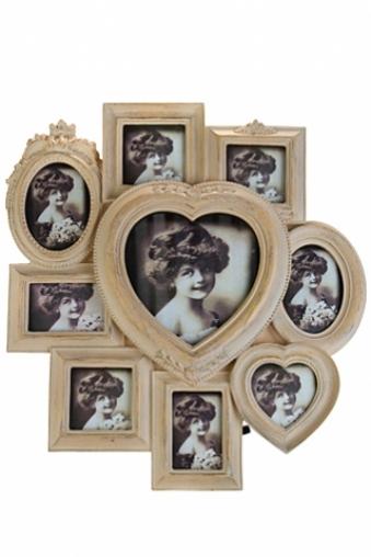 """Рамки для нескольких фото Красный куб Рамка для 9-ти фото """"Сердце"""""""