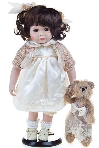 """Фарфоровые куклы Красный куб Кукла """"Милая Никки с мишкой"""""""