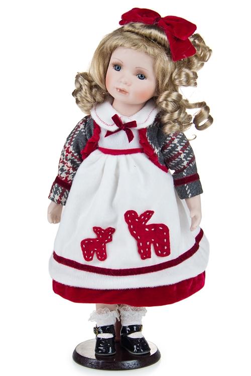 """Текстильные игрушки Красный куб Кукла """"Малышка с оленями"""""""