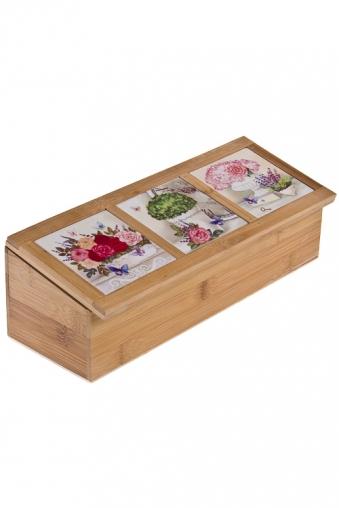"""Емкости для сыпучих и для жидкостей Красный куб Емкость для чайных пакетиков """"Прованские цветы"""""""
