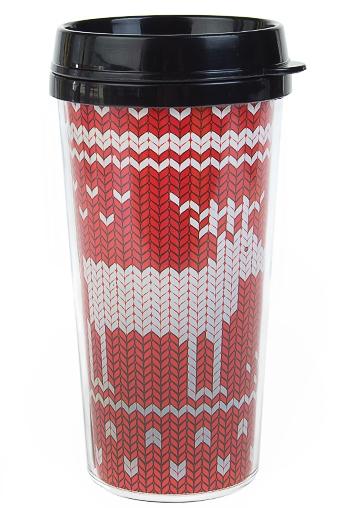 """Термокружки и стаканы для чая/кофе Красный куб Термокружка с крышкой """"Гордый олень"""""""