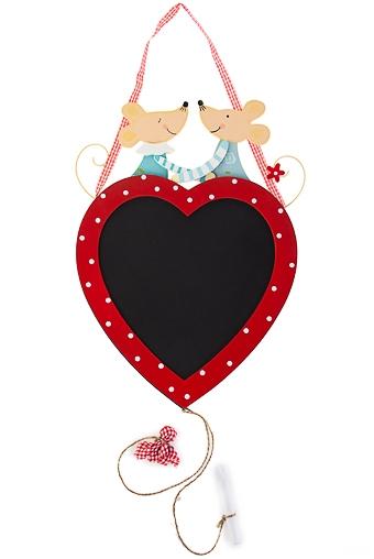 """Шкатулки, копилки, канцелярия на 14 февраля Красный куб Доска-мемо """"Мыши на сердце"""""""