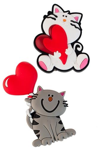 """Магниты Красный куб Набор держателей-магнитов """"Влюбленные котики"""""""