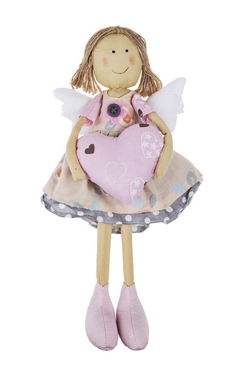 """Текстильные игрушки Красный куб Кукла декоративная """"Ангел с сердцем"""""""