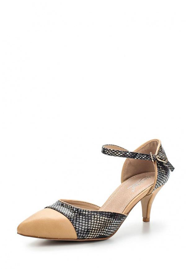Туфли Vivian Royal J-015-1 бежевые, чёрные