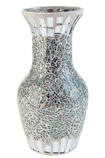 """Стеклянные вазы и кашпо Красный куб Ваза для цветов """"Блеск серебра"""""""