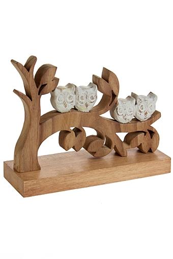 """Деревянные статуэтки Красный куб Украшение для интерьера """"Совята на дереве"""""""