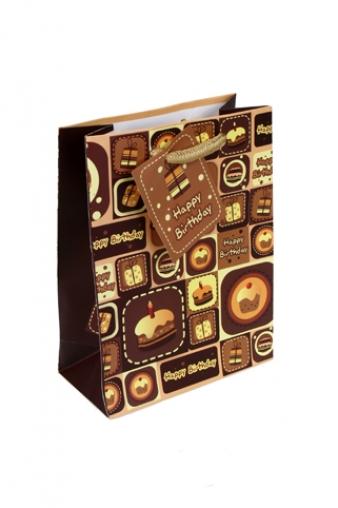 """Пакеты «С Днем рождения» Красный куб Пакет подарочный """"Сладкий день рождения"""""""