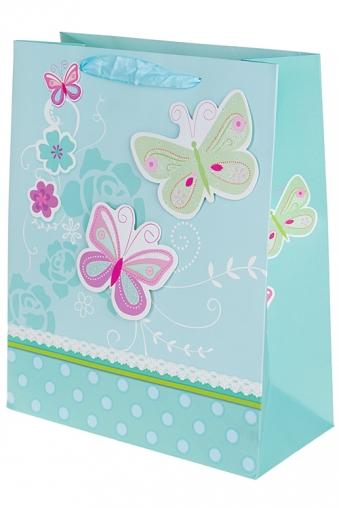 """Пакеты на любой повод Красный куб Пакет подарочный """"Порхающие бабочки"""""""