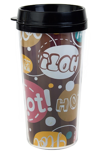 """Термокружки и стаканы для чая/кофе Красный куб Термокружка с крышкой """"Горячие мысли"""""""