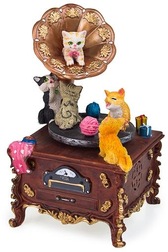"""Статуэтки Кошек Красный куб Украшение для интерьера музыкальное и двигающееся """"Музыкальные котятки"""""""