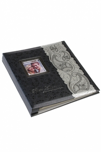 """Свадебные фотоальбомы Красный куб Фотоальбом с рамкой для фото магнитный """"Серебряный узор"""""""