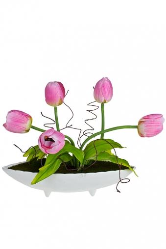 """Декоративные цветы Красный куб Композиция декоративная """"Дивные тюльпаны"""""""