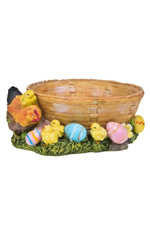 """Кухонные аксессуары Красный куб Корзинка для яиц декор. """"Курочка с цыплятами"""""""