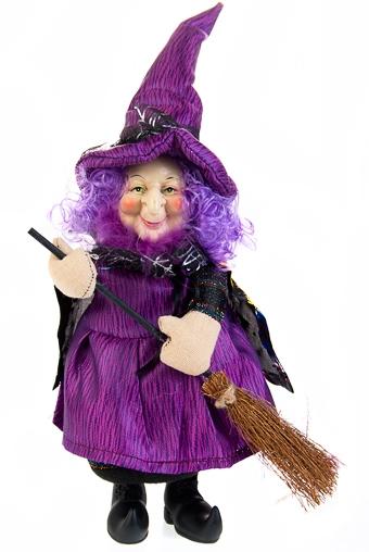 """Куклы ведьмы Красный куб Кукла декор. """"Добрая ведьмочка с метлой"""""""
