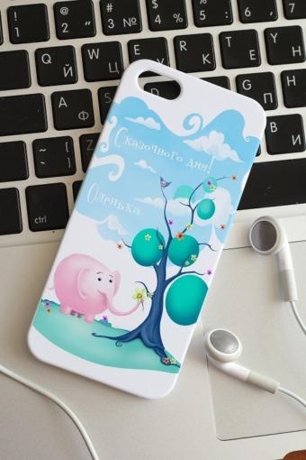 """Подарки детям Красный куб Чехол для iphone 5/5S с вашим текстом """"Слон и подарки"""""""
