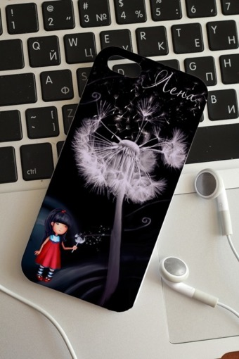 """Подарки детям Красный куб Чехол для iphone 5/5S с вашим текстом """"Цветы"""""""