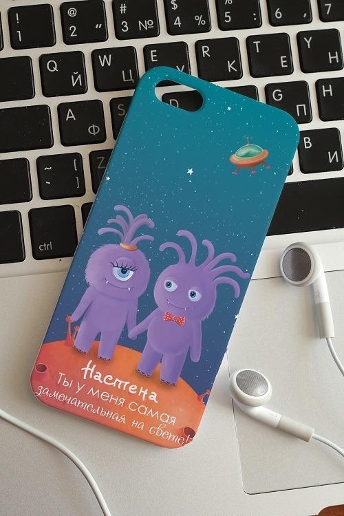 """Подарки на 8 марта Красный куб Чехол для iphone 5/5S с вашим текстом """"Влюбленные звери"""""""
