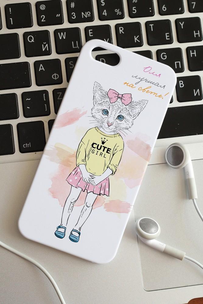 """Подарки на день рождения Красный куб Чехол для iphone 5/5S с вашим текстом """"Котик с бантиком"""""""